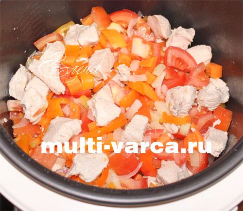 Тушеная индейка с картошкой и овощами в мультиварке. Шаг шестой