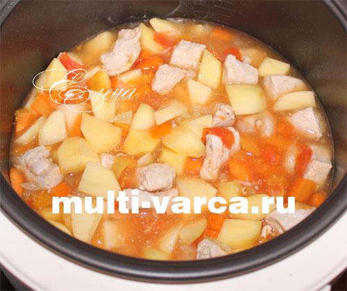 Тушеная индейка с картошкой и овощами в мультиварке. Шаг восьмой
