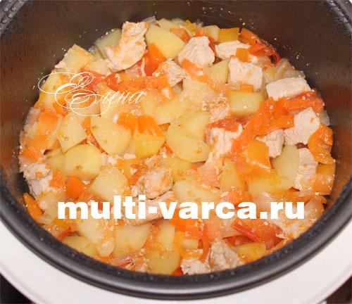 Тушеная индейка с картошкой и овощами в мультиварке. Шаг девятый