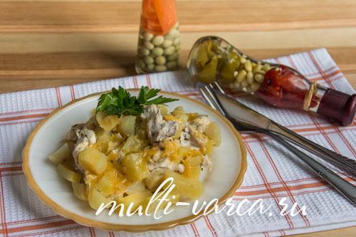 Курица с картошкой в фольге под сыром