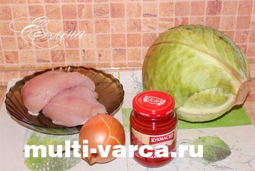 Продукты для приготовления тушеной капусты с курицей