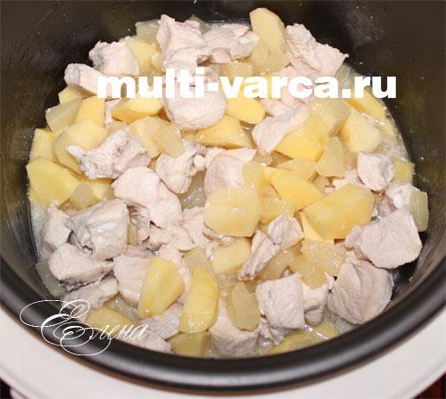 Куриная грудка с ананасами в мультиварке