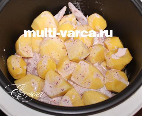 куриные крылышки в мультиварке с картошкой