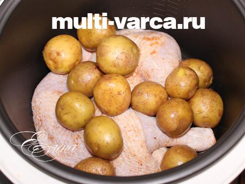 как запечь курицу с картошкой в мультиварке