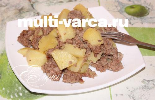 Тушеная картошка с фаршем в мультиварке рецепт 114