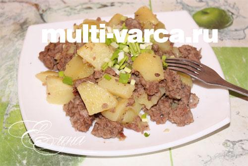 Тушеная картошка с фаршем в мультиварке панасоник