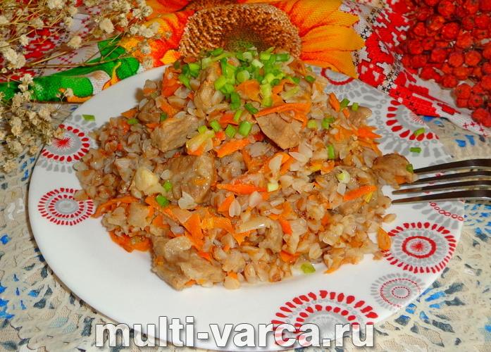 Плов из гречки с мясом в мультиварке