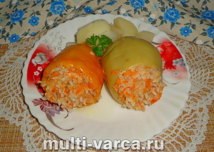 Фаршированный перец с картошкой в мультиварке