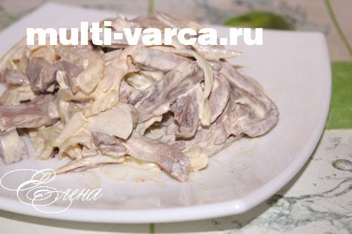 Блюда из языка в мультиварке, салат