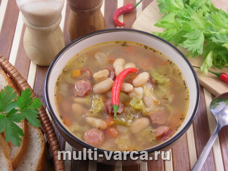 Как приготовить вкусный фасолевый суп с копченостями в мультиварке