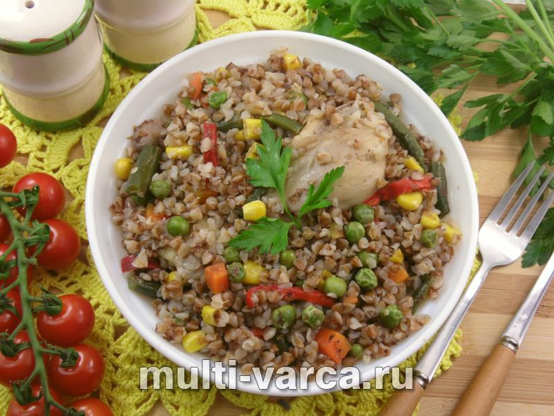 Гречка с овощами и куриными голенями в мультиварке