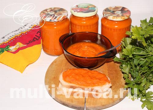 кабачковая икра с помидорами и болгарским перцем
