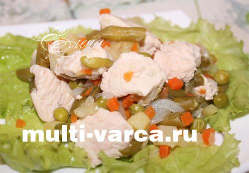 Филе индейки с овощами в мультиварке