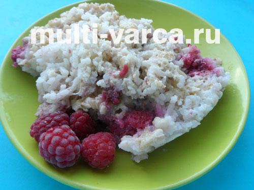 Овсяно-рисовая каша с малиной в мультиварке