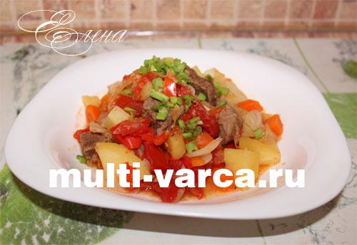 Тушеный картофель с мясом и капустой в мультиварке рецепт с фото