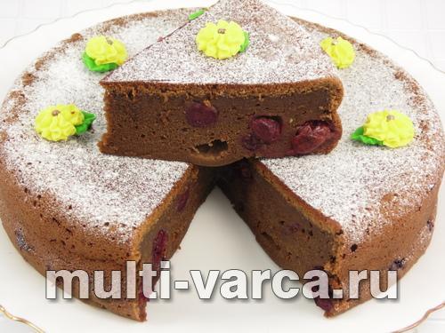 Творожный пирог с вишней в мультиварке