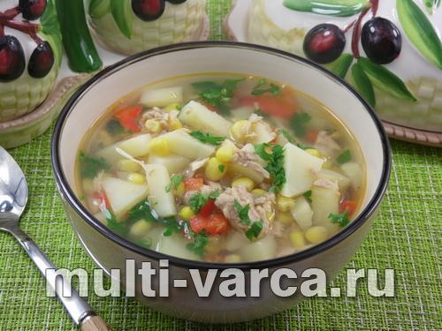 Суп с тунцом в мультиварке