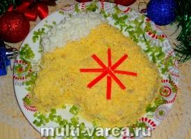 Салат Варежка с курицей и крабовыми палочками