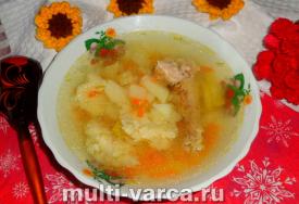 Суп с галушками и курицей в мультиварке
