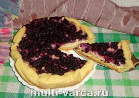 Песочный пирог с черникой и творогом в мультиварке