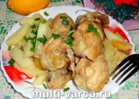 Куриная голень с картошкой в мультиварке