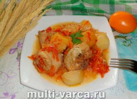 Курица с капустой и картошкой в мультиварке