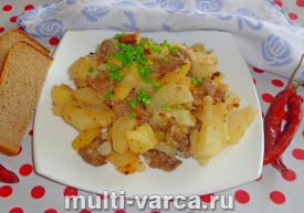 Жареная картошка с мясом в мультиварке