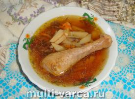 Суп с шампиньонами и курицей в мультиварке