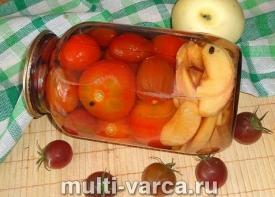 Маринованные помидоры с яблоками на зиму, рецепт без уксуса