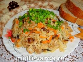 Рис с грибами и курицей в мультиварке
