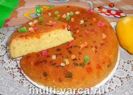 Лимонный пирог с цукатами в мультиварке