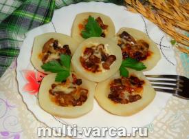 Картофель, фаршированный грибами в мультиварке