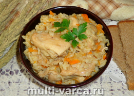 Курица с бурым рисом в мультиварке