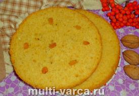 Ванильный бисквит с изюмом в мультиварке