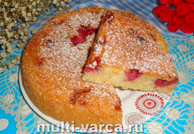 Пирог с замороженной малиной в мультиварке