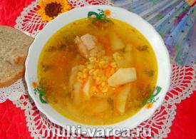 Гороховый суп с крылышками в мультиварке