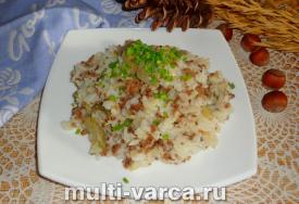 Рис с фаршем и кабачками в мультиварке