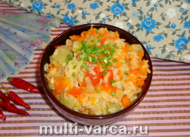 Овощное рагу с рисом в мультиварке