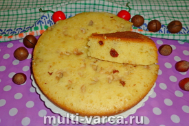 Пирог с орехами и изюмом в мультиварке