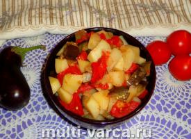 Рагу с баклажанами и картошкой в мультиварке