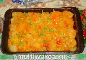 Картофельная запеканка с сосисками в духовке