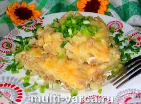 Запеканка из макарон с фаршем и сыром в мультиварке