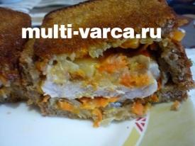 Горячий бутерброд в мультиварке со свининой или сэндвич