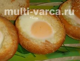 Запечённые булочки с сыром и яйцом в мультиварке