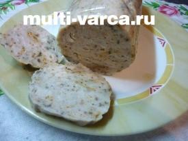 Домашняя куриная колбаска в мультиварке