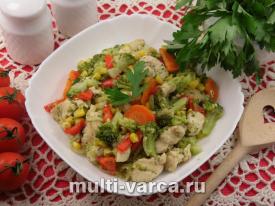 Куриное филе с овощами в мультиварке