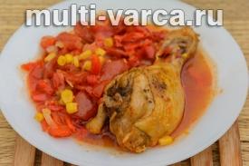 Тушеные куриные ножки в томатном соусе в мультиварке