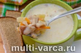Молочный суп с белыми грибами в мультиварке