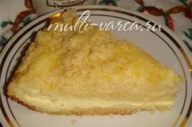 Простой и вкусный творожно-лимонный пирог крошка в мультиварке рецепт с фото