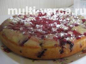 Пирог с малиной в мультиварке